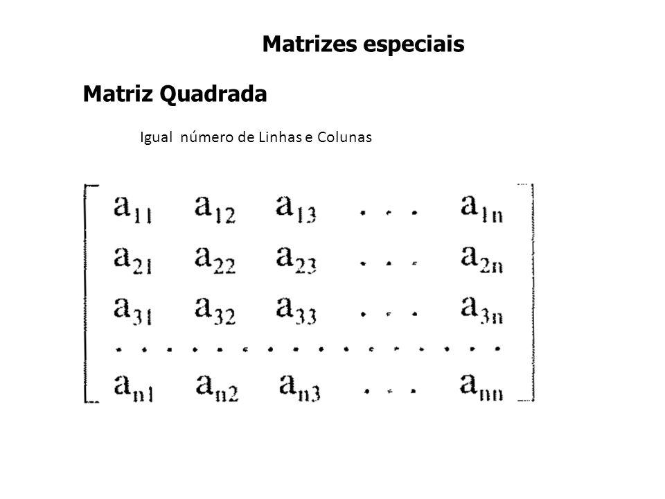 Igual número de Linhas e Colunas Matriz Quadrada Matrizes especiais