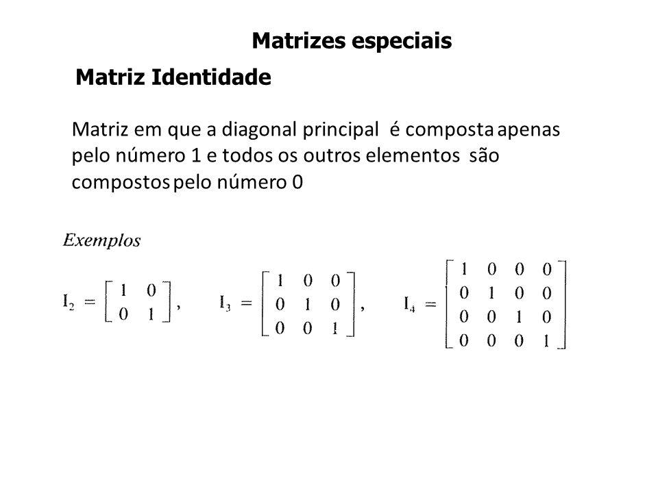 Matriz em que a diagonal principal é composta apenas pelo número 1 e todos os outros elementos são compostos pelo número 0 Matriz Identidade Matrizes especiais