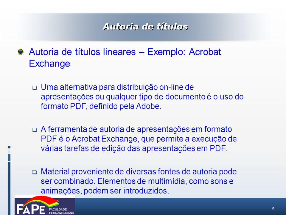 20 Autoria de aplicativos com interface multimídia – Exemplo: Toolbook O ambiente Toolbook consiste em várias janelas independentes.