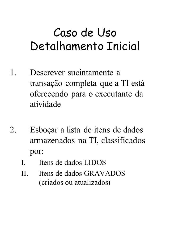 Caso de Uso Detalhamento Inicial 1.Descrever sucintamente a transação completa que a TI está oferecendo para o executante da atividade 2.Esboçar a lis