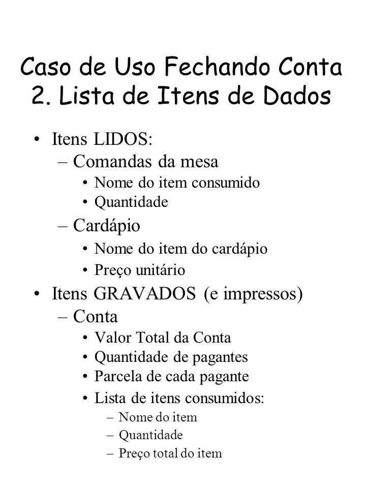 Caso de Uso Fechando Conta 2. Lista de Itens de Dados Itens LIDOS: –Comandas da mesa Nome do item consumido Quantidade –Cardápio Nome do item do cardá