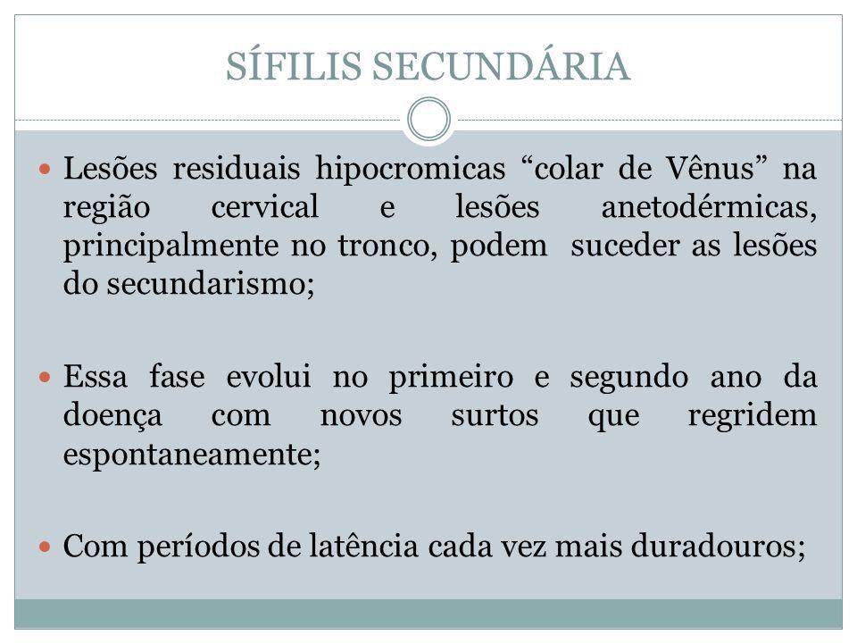 Lesões residuais hipocromicas colar de Vênus na região cervical e lesões anetodérmicas, principalmente no tronco, podem suceder as lesões do secundari