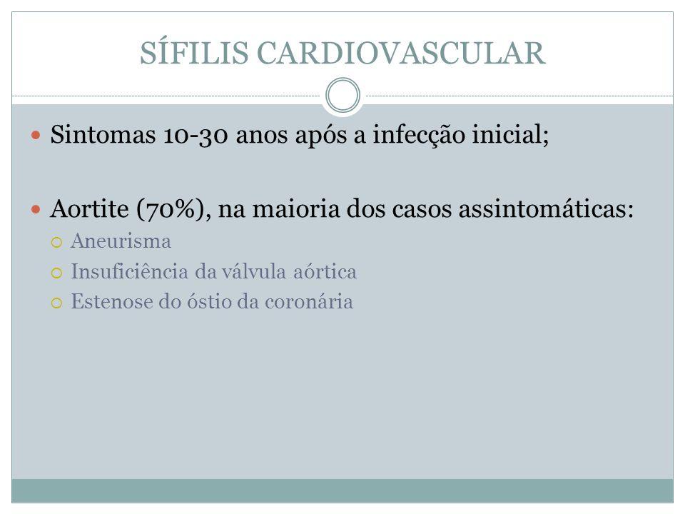 SÍFILIS CARDIOVASCULAR Sintomas 10-30 anos após a infecção inicial; Aortite (70%), na maioria dos casos assintomáticas: Aneurisma Insuficiência da vál