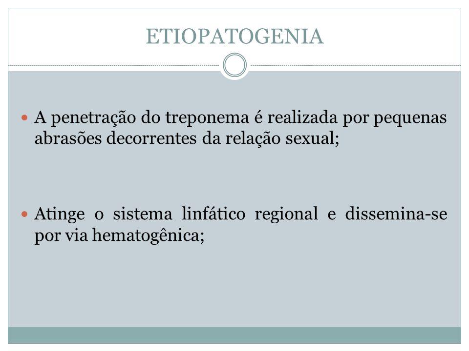 ETIOPATOGENIA A penetração do treponema é realizada por pequenas abrasões decorrentes da relação sexual; Atinge o sistema linfático regional e dissemi