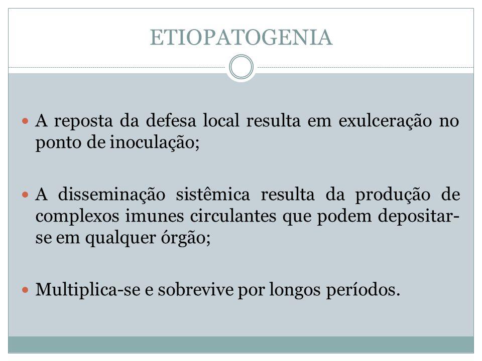ETIOPATOGENIA A reposta da defesa local resulta em exulceração no ponto de inoculação; A disseminação sistêmica resulta da produção de complexos imune