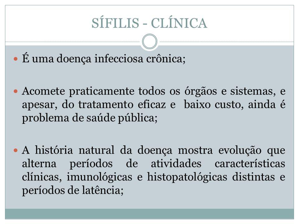 SÍFILIS - CLÍNICA É uma doença infecciosa crônica; Acomete praticamente todos os órgãos e sistemas, e apesar, do tratamento eficaz e baixo custo, aind