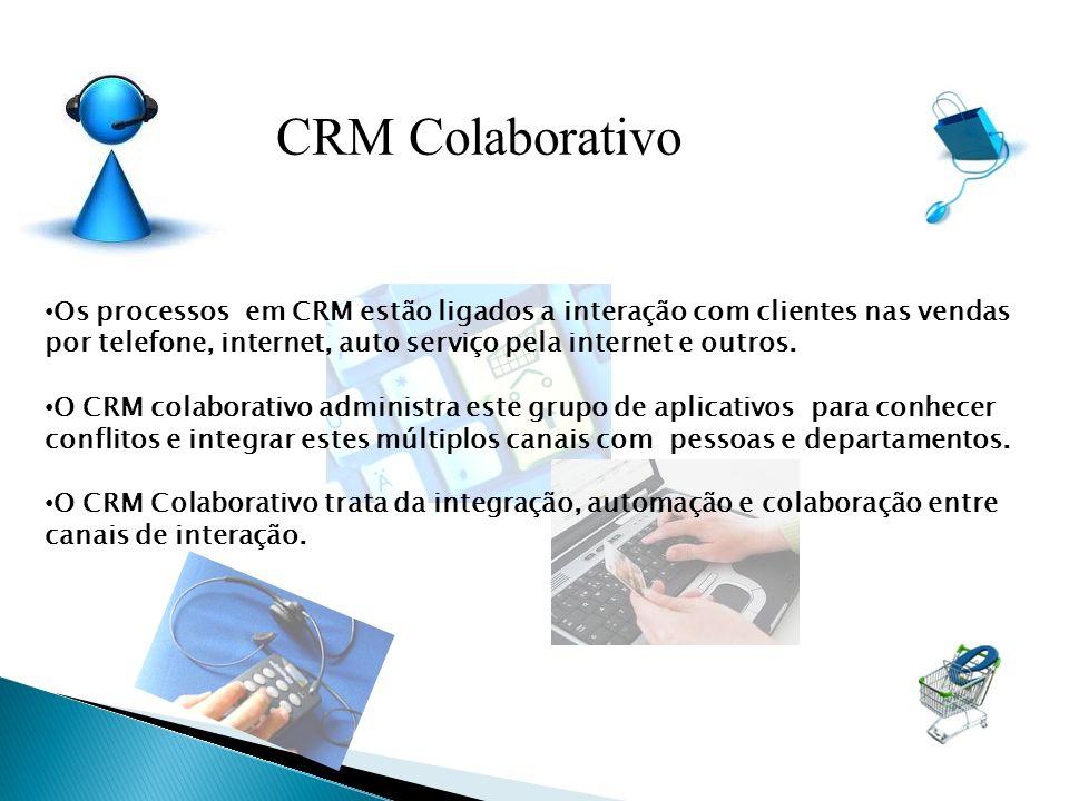 Os processos em CRM estão ligados a interação com clientes nas vendas por telefone, internet, auto serviço pela internet e outros. O CRM colaborativo
