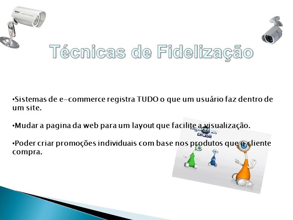 Sistemas de e-commerce registra TUDO o que um usuário faz dentro de um site. Mudar a pagina da web para um layout que facilite a visualização. Poder c
