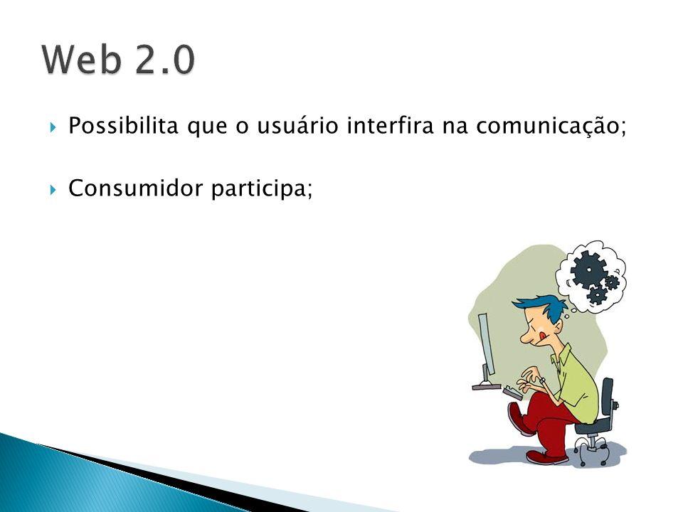 Possibilita que o usuário interfira na comunicação; Consumidor participa;