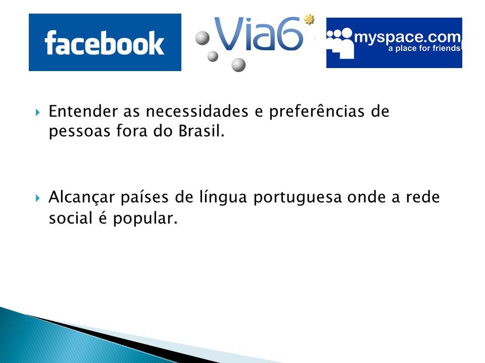 Entender as necessidades e preferências de pessoas fora do Brasil. Alcançar países de língua portuguesa onde a rede social é popular.