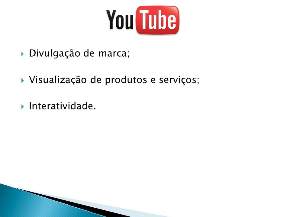 Divulgação de marca; Visualização de produtos e serviços; Interatividade.