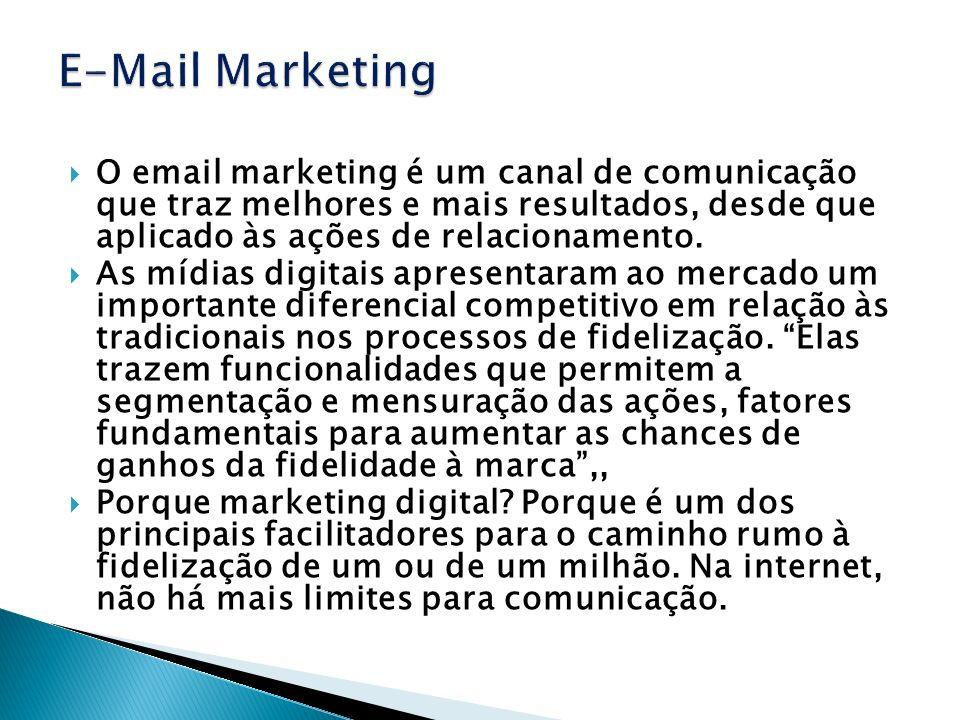 O email marketing é um canal de comunicação que traz melhores e mais resultados, desde que aplicado às ações de relacionamento. As mídias digitais apr