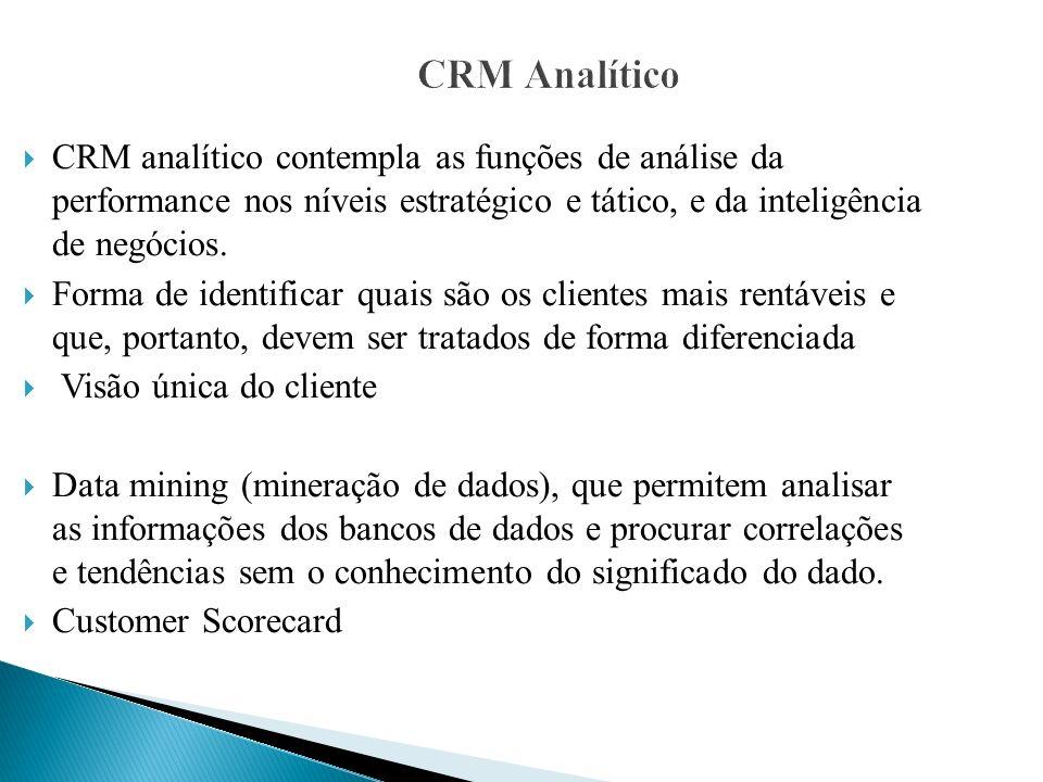 CRM Analítico CRM analítico contempla as funções de análise da performance nos níveis estratégico e tático, e da inteligência de negócios. Forma de id