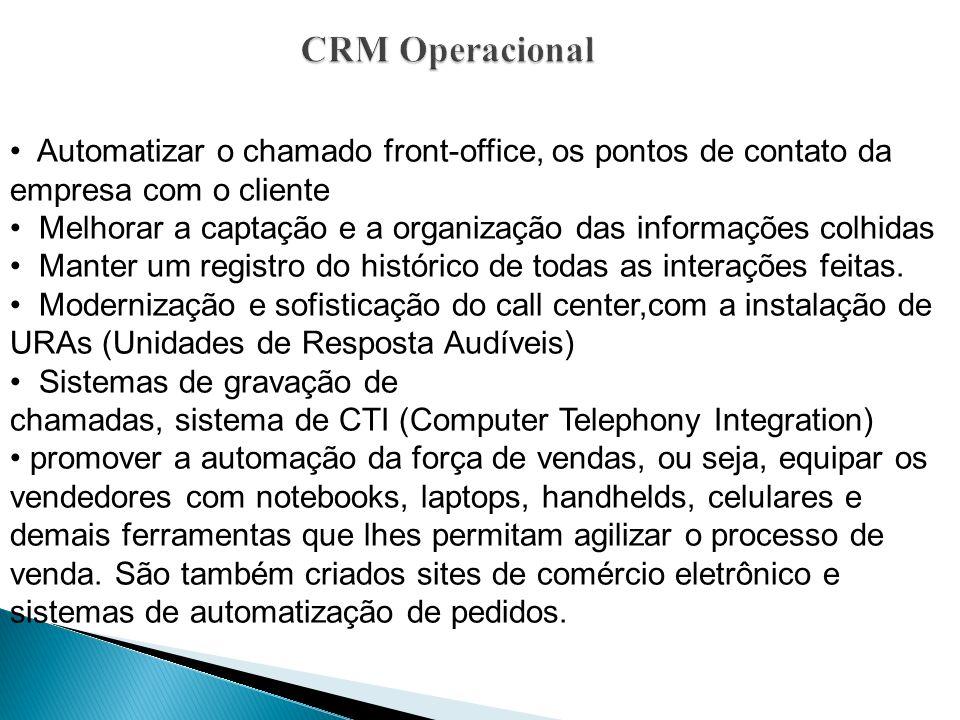 CRM Operacional Automatizar o chamado front-office, os pontos de contato da empresa com o cliente Melhorar a captação e a organização das informações