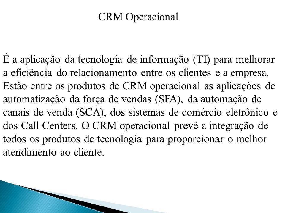 É a aplicação da tecnologia de informação (TI) para melhorar a eficiência do relacionamento entre os clientes e a empresa. Estão entre os produtos de