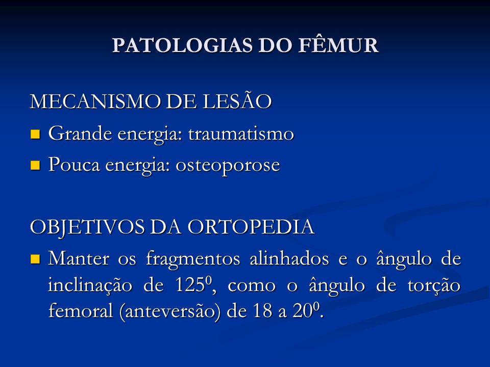 PATOLOGIAS DO FÊMUR MECANISMO DE LESÃO Grande energia: traumatismo Grande energia: traumatismo Pouca energia: osteoporose Pouca energia: osteoporose OBJETIVOS DA ORTOPEDIA Manter os fragmentos alinhados e o ângulo de inclinação de 125 0, como o ângulo de torção femoral (anteversão) de 18 a 20 0.