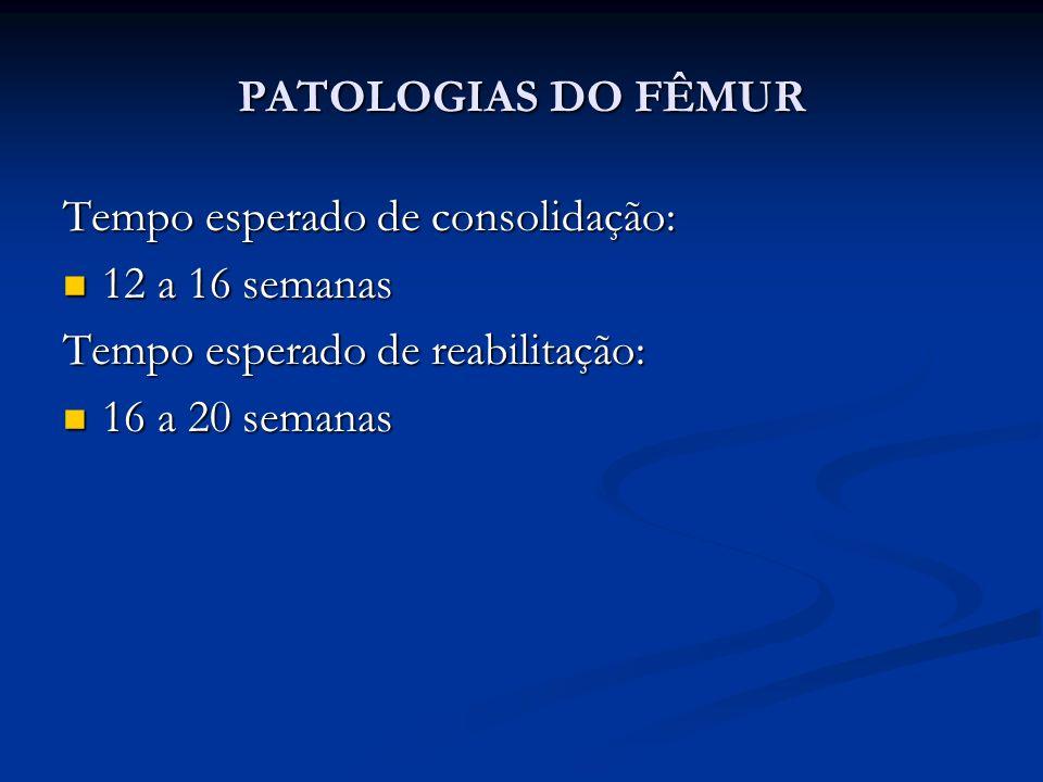 PATOLOGIAS DO FÊMUR Tempo esperado de consolidação: 12 a 16 semanas 12 a 16 semanas Tempo esperado de reabilitação: 16 a 20 semanas 16 a 20 semanas