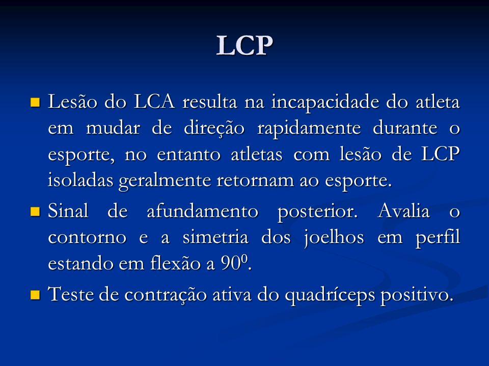 LCP Lesão do LCA resulta na incapacidade do atleta em mudar de direção rapidamente durante o esporte, no entanto atletas com lesão de LCP isoladas geralmente retornam ao esporte.