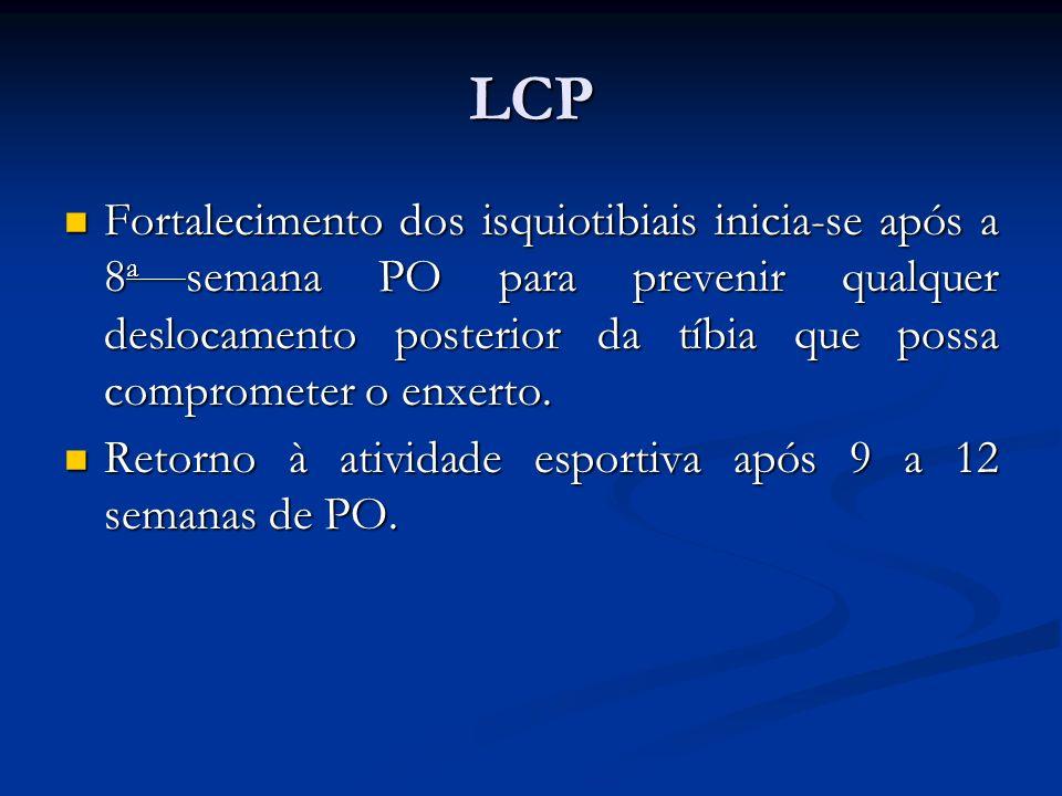 LCP Fortalecimento dos isquiotibiais inicia-se após a 8 a semana PO para prevenir qualquer deslocamento posterior da tíbia que possa comprometer o enxerto.