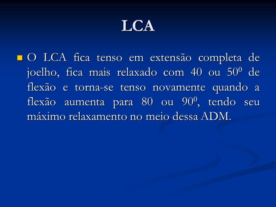 LCA O LCA fica tenso em extensão completa de joelho, fica mais relaxado com 40 ou 50 0 de flexão e torna-se tenso novamente quando a flexão aumenta para 80 ou 90 0, tendo seu máximo relaxamento no meio dessa ADM.