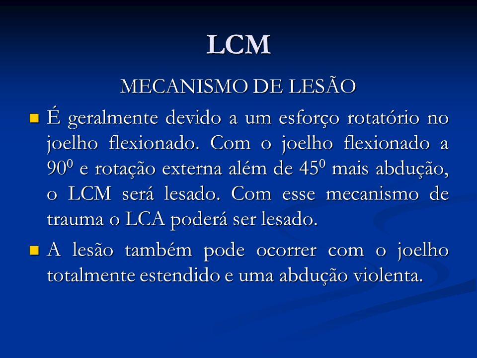LCM MECANISMO DE LESÃO É geralmente devido a um esforço rotatório no joelho flexionado.
