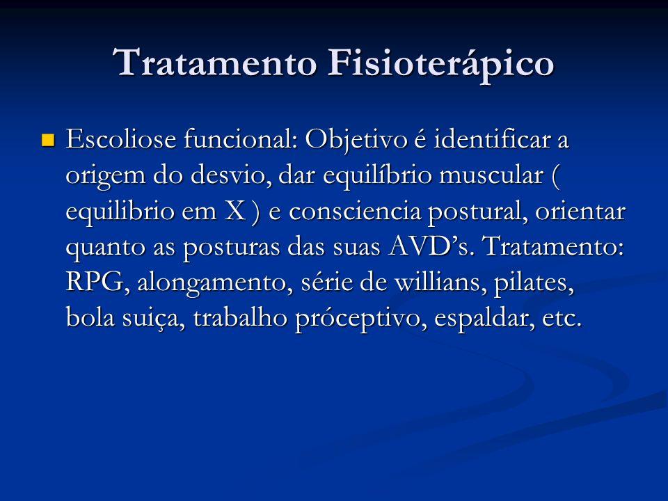 Tratamento Fisioterápico Escoliose funcional: Objetivo é identificar a origem do desvio, dar equilíbrio muscular ( equilibrio em X ) e consciencia postural, orientar quanto as posturas das suas AVDs.
