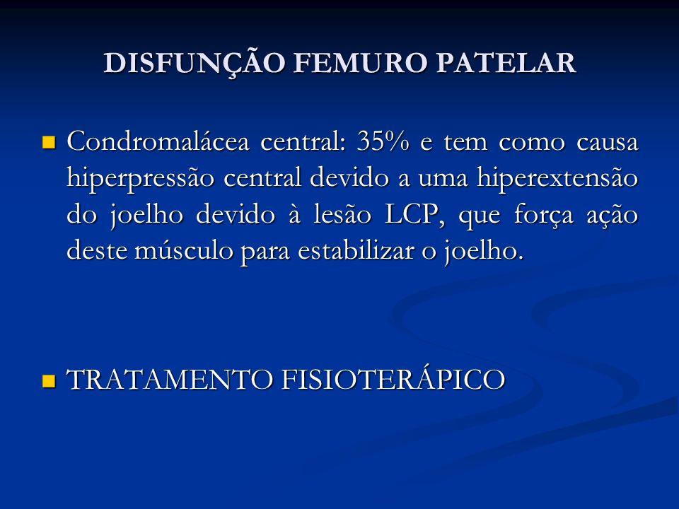 DISFUNÇÃO FEMURO PATELAR Condromalácea central: 35% e tem como causa hiperpressão central devido a uma hiperextensão do joelho devido à lesão LCP, que força ação deste músculo para estabilizar o joelho.