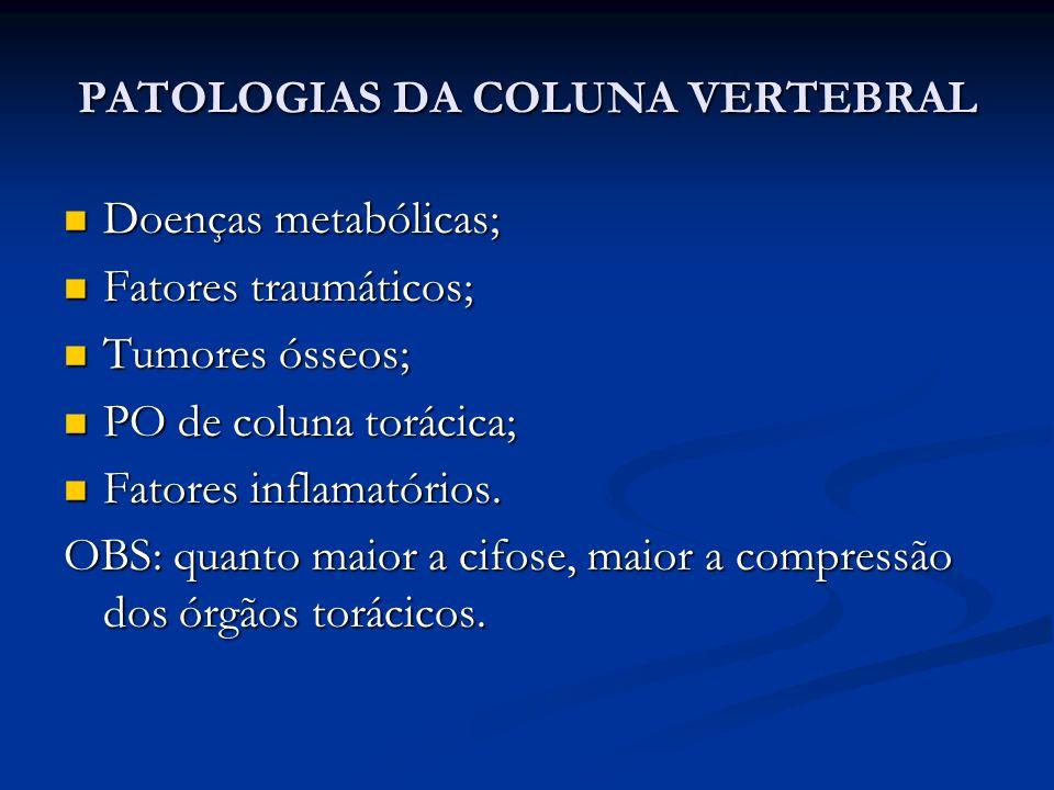 PATOLOGIAS DA COLUNA VERTEBRAL Doenças metabólicas; Doenças metabólicas; Fatores traumáticos; Fatores traumáticos; Tumores ósseos; Tumores ósseos; PO de coluna torácica; PO de coluna torácica; Fatores inflamatórios.