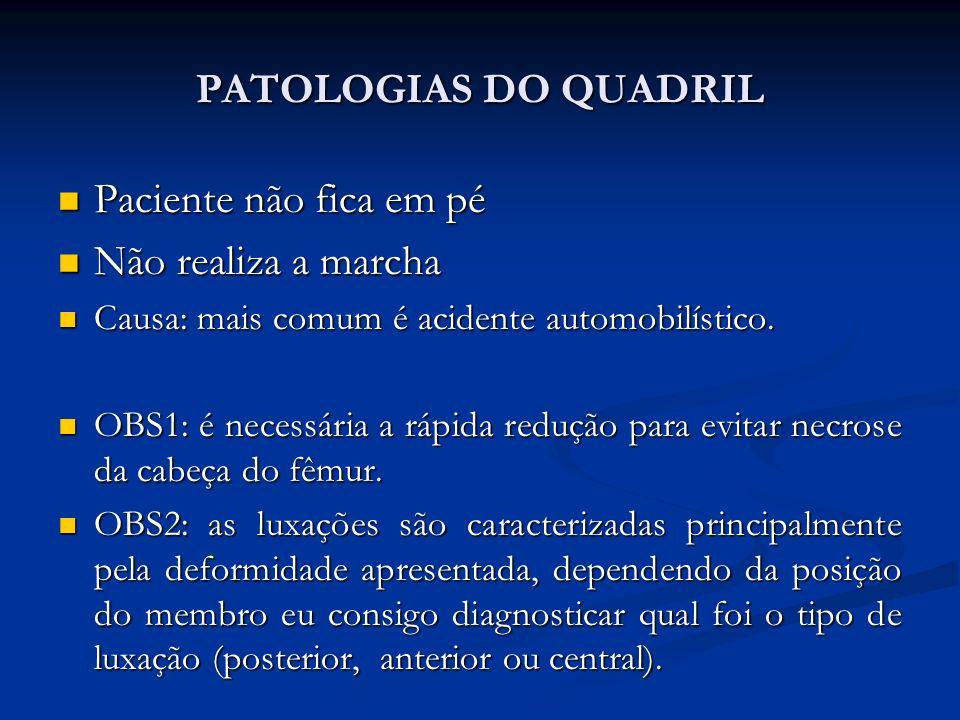 PATOLOGIAS DO QUADRIL Paciente não fica em pé Paciente não fica em pé Não realiza a marcha Não realiza a marcha Causa: mais comum é acidente automobilístico.
