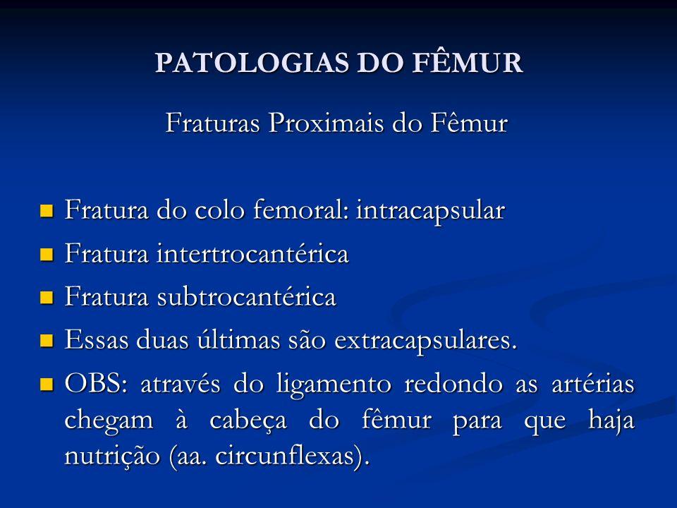 PATOLOGIAS DO FÊMUR Fraturas Proximais do Fêmur Fratura do colo femoral: intracapsular Fratura do colo femoral: intracapsular Fratura intertrocantérica Fratura intertrocantérica Fratura subtrocantérica Fratura subtrocantérica Essas duas últimas são extracapsulares.