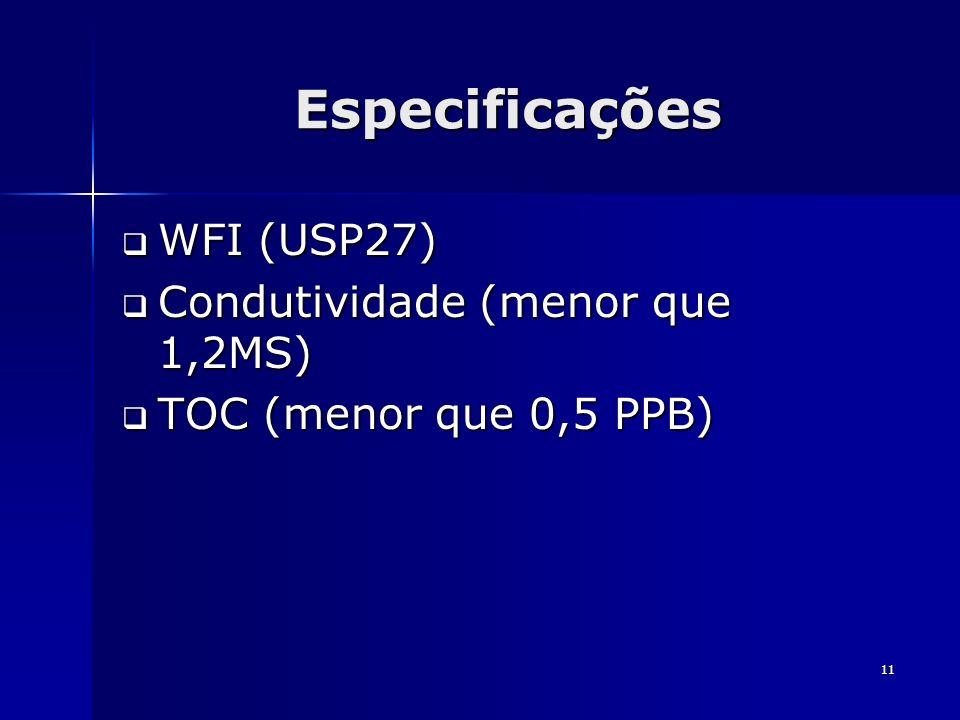 11 Especificações WFI (USP27) WFI (USP27) Condutividade (menor que 1,2MS) Condutividade (menor que 1,2MS) TOC (menor que 0,5 PPB) TOC (menor que 0,5 P