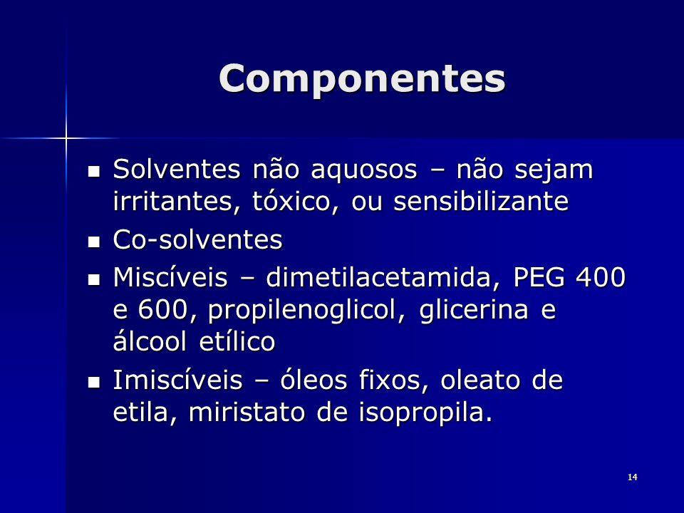 14 Componentes Solventes não aquosos – não sejam irritantes, tóxico, ou sensibilizante Solventes não aquosos – não sejam irritantes, tóxico, ou sensib