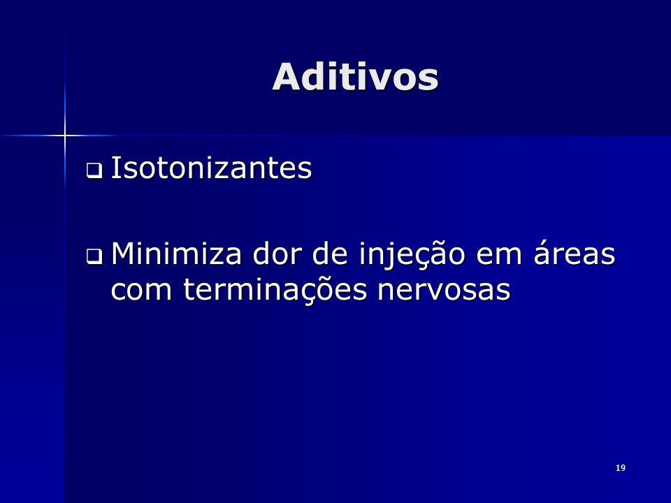 19 Aditivos Isotonizantes Isotonizantes Minimiza dor de injeção em áreas com terminações nervosas Minimiza dor de injeção em áreas com terminações ner