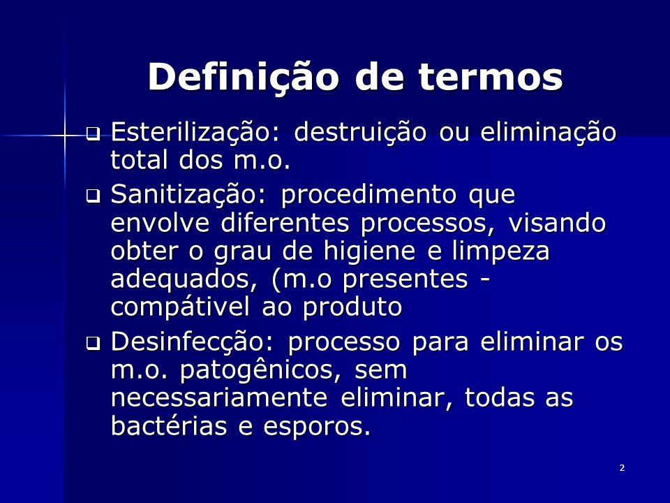 2 Definição de termos Esterilização: destruição ou eliminação total dos m.o. Esterilização: destruição ou eliminação total dos m.o. Sanitização: proce