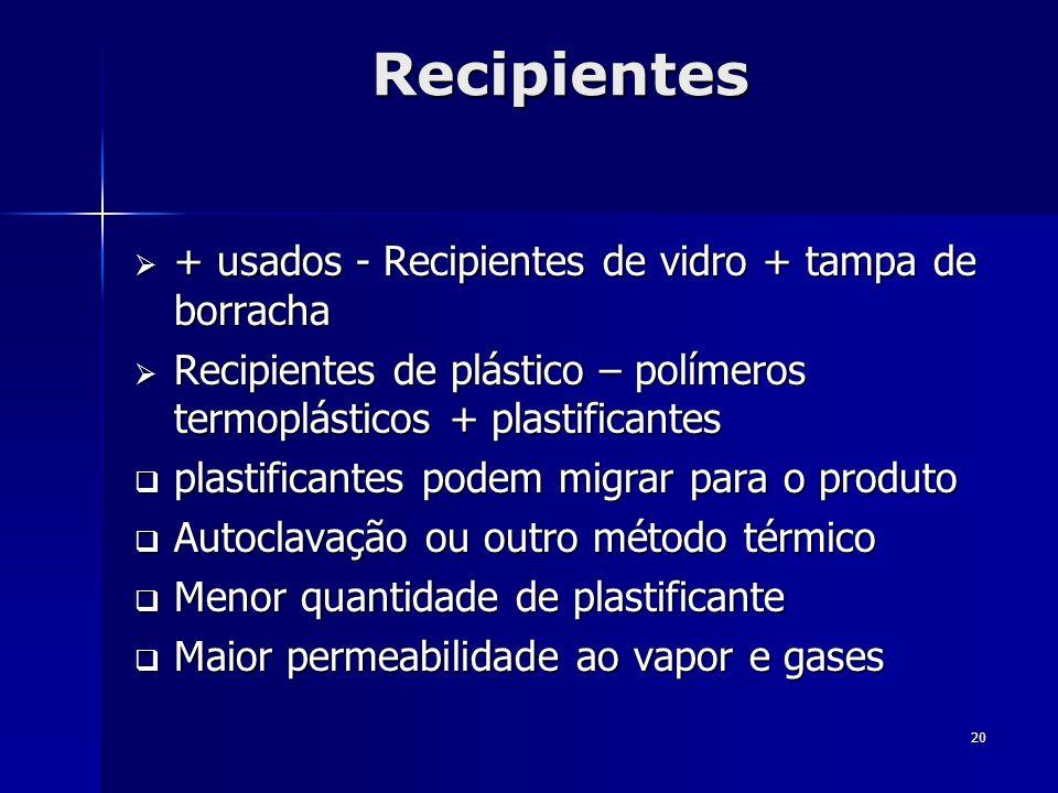 20 Recipientes + usados - Recipientes de vidro + tampa de borracha + usados - Recipientes de vidro + tampa de borracha Recipientes de plástico – polím