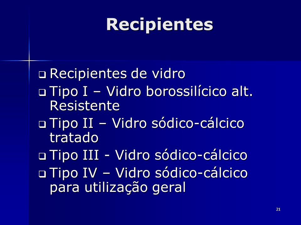 21 Recipientes Recipientes de vidro Recipientes de vidro Tipo I – Vidro borossilícico alt. Resistente Tipo I – Vidro borossilícico alt. Resistente Tip
