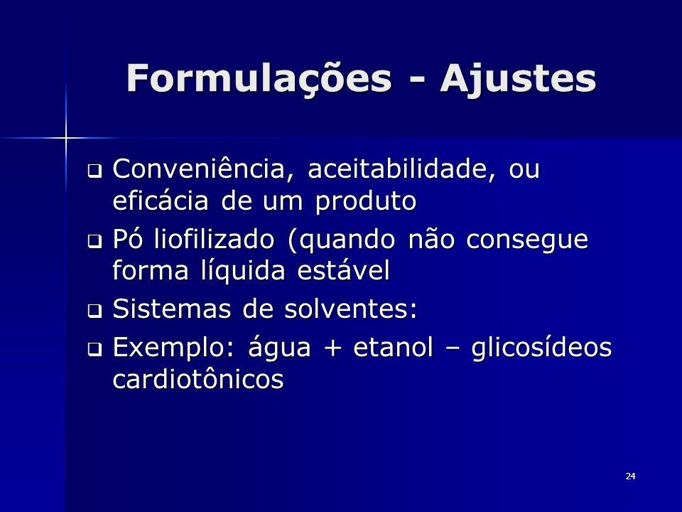 24 Formulações - Ajustes Conveniência, aceitabilidade, ou eficácia de um produto Conveniência, aceitabilidade, ou eficácia de um produto Pó liofilizad