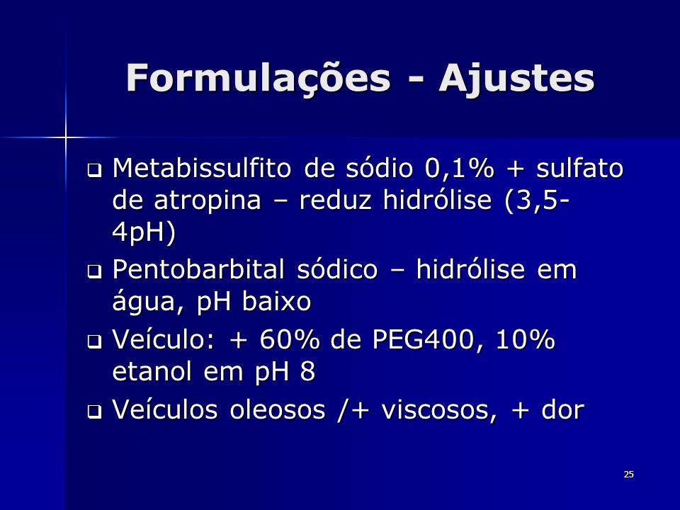 25 Formulações - Ajustes Metabissulfito de sódio 0,1% + sulfato de atropina – reduz hidrólise (3,5- 4pH) Metabissulfito de sódio 0,1% + sulfato de atr