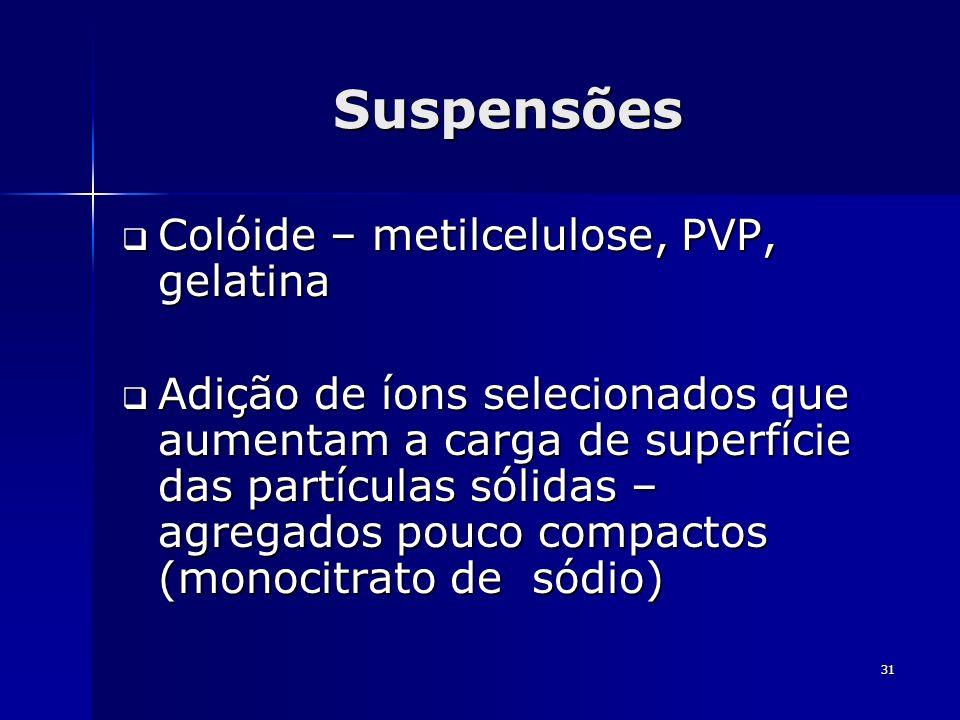 31 Suspensões Colóide – metilcelulose, PVP, gelatina Colóide – metilcelulose, PVP, gelatina Adição de íons selecionados que aumentam a carga de superf