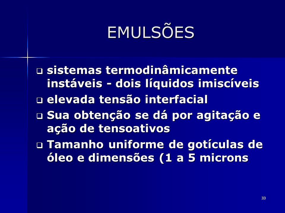 33 EMULSÕES sistemas termodinâmicamente instáveis - dois líquidos imiscíveis sistemas termodinâmicamente instáveis - dois líquidos imiscíveis elevada