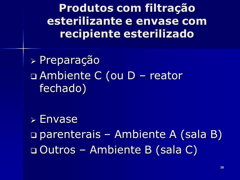 38 Produtos com filtração esterilizante e envase com recipiente esterilizado Preparação Preparação Ambiente C (ou D – reator fechado) Ambiente C (ou D