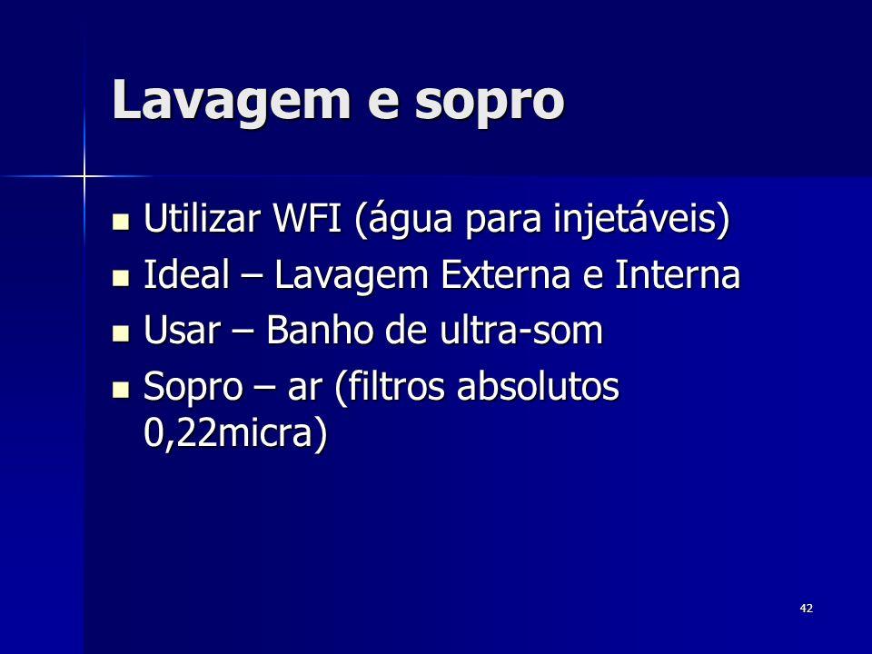 42 Lavagem e sopro Utilizar WFI (água para injetáveis) Utilizar WFI (água para injetáveis) Ideal – Lavagem Externa e Interna Ideal – Lavagem Externa e