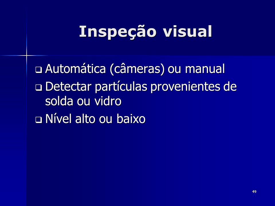 49 Inspeção visual Automática (câmeras) ou manual Automática (câmeras) ou manual Detectar partículas provenientes de solda ou vidro Detectar partícula