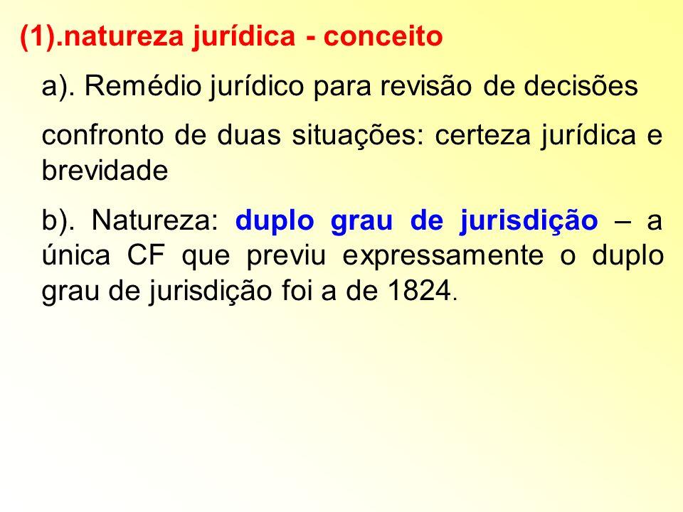 (1).natureza jurídica - conceito a). Remédio jurídico para revisão de decisões confronto de duas situações: certeza jurídica e brevidade b). Natureza: