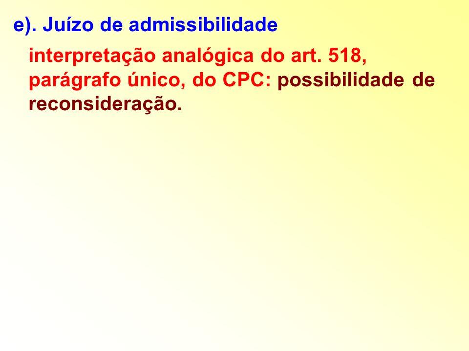 e). Juízo de admissibilidade interpretação analógica do art. 518, parágrafo único, do CPC: possibilidade de reconsideração.
