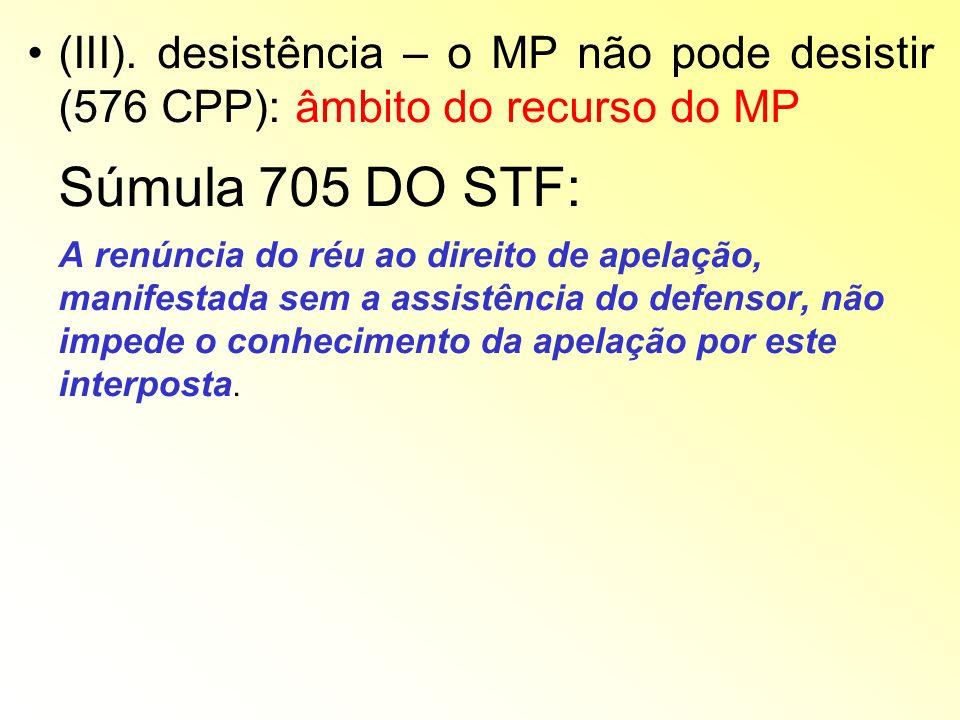 (III). desistência – o MP não pode desistir (576 CPP): âmbito do recurso do MP Súmula 705 DO STF: A renúncia do réu ao direito de apelação, manifestad