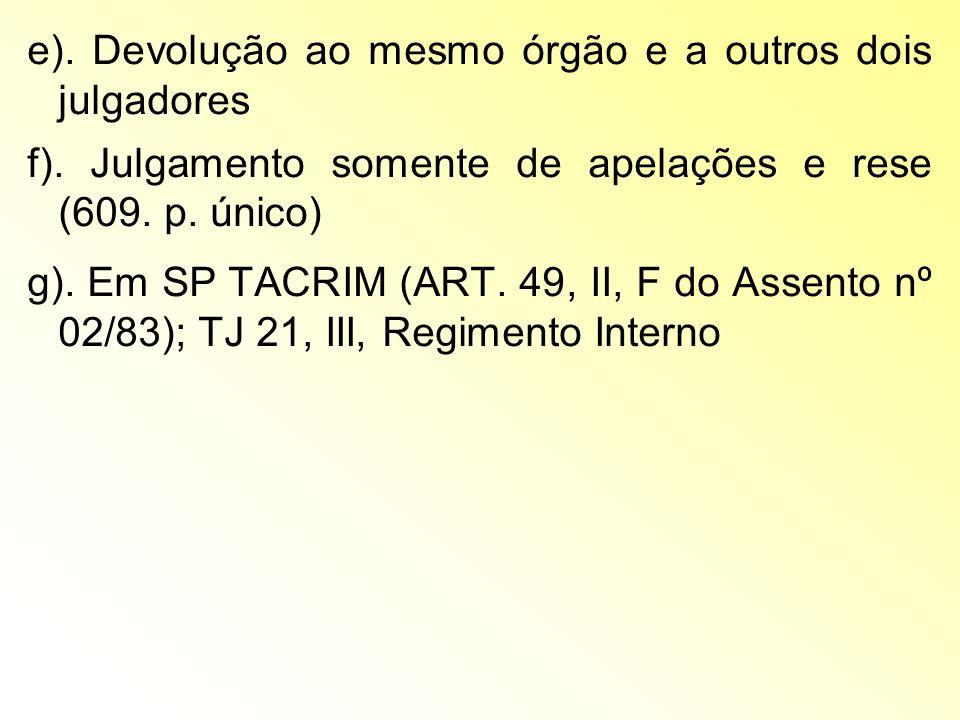 e). Devolução ao mesmo órgão e a outros dois julgadores f). Julgamento somente de apelações e rese (609. p. único) g). Em SP TACRIM (ART. 49, II, F do
