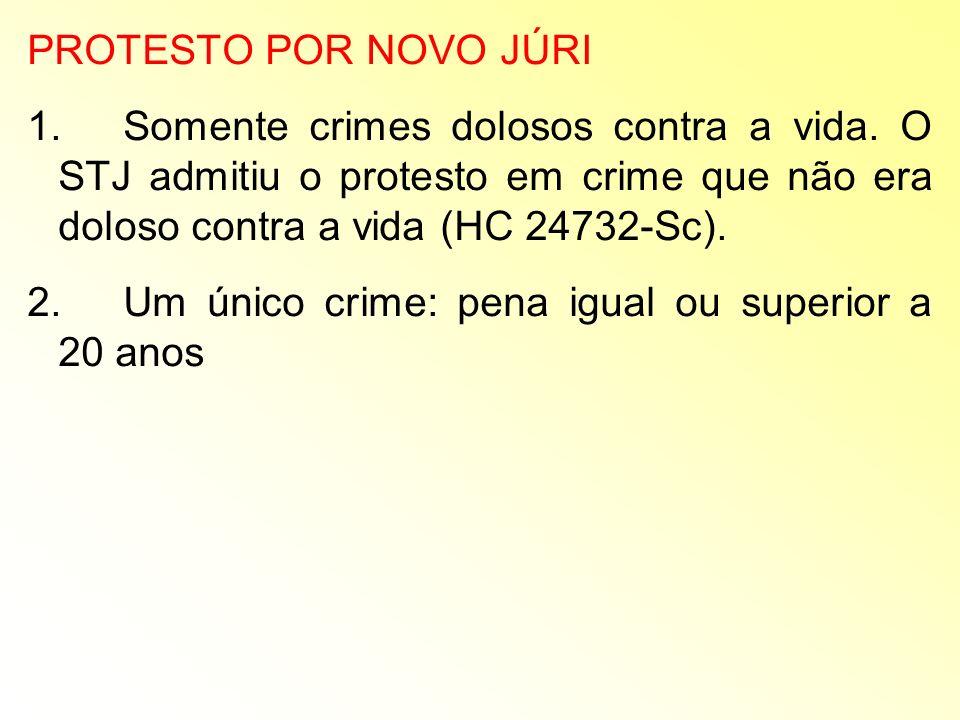 PROTESTO POR NOVO JÚRI 1.Somente crimes dolosos contra a vida. O STJ admitiu o protesto em crime que não era doloso contra a vida (HC 24732-Sc). 2.Um
