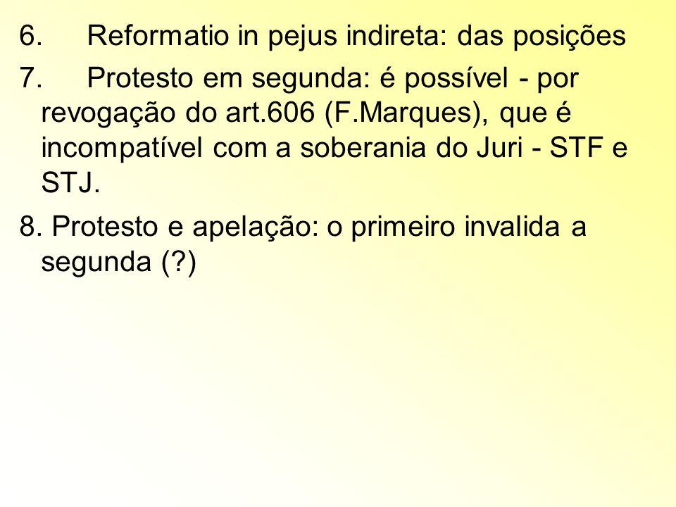 6.Reformatio in pejus indireta: das posições 7.Protesto em segunda: é possível - por revogação do art.606 (F.Marques), que é incompatível com a sobera