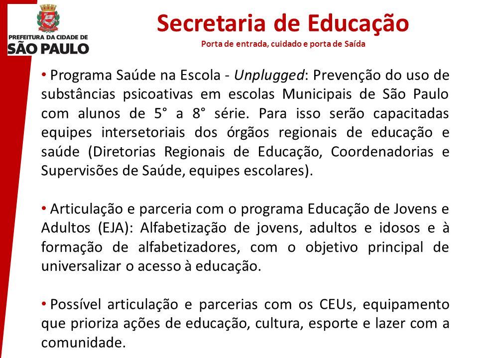 Secretaria de Educação Porta de entrada, cuidado e porta de Saída Programa Saúde na Escola - Unplugged: Prevenção do uso de substâncias psicoativas em
